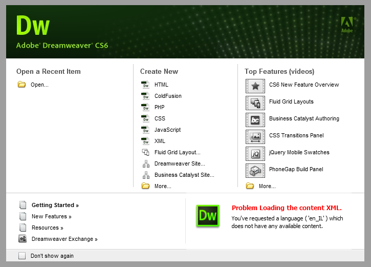 Giao diện khởi động phần mềm Adobe Dreaweaver CS6
