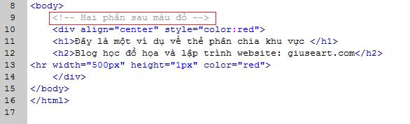 Thẻ ghi chú trong html