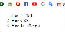 Ví dụ chèn thẻ danh sách có thứ tự trong html