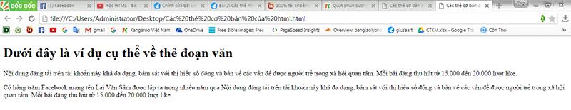 Ví dụ về cặp thẻ đoạn văn trong xây dựng giao diện website