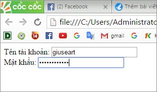 Password input dùng để làm khung nhập mật khẩu trên website