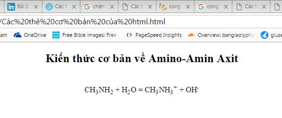 Thẻ chèn chỉ số dưới trong html