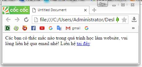 thẻ chèn link tới địa chỉ email