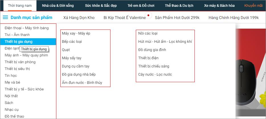 Thẻ danh sách tạo menu cho website