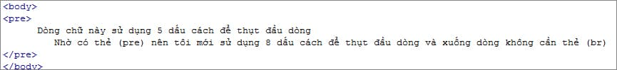 thẻ pre trong html