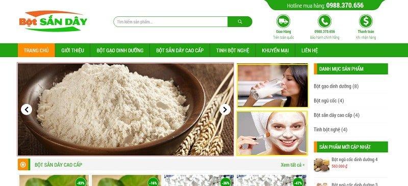 Giao diện trang chủ website bán hàng
