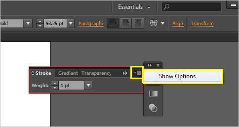 Vào Window - Stroke - Show Option để mở Bảng chọn cho Stroke