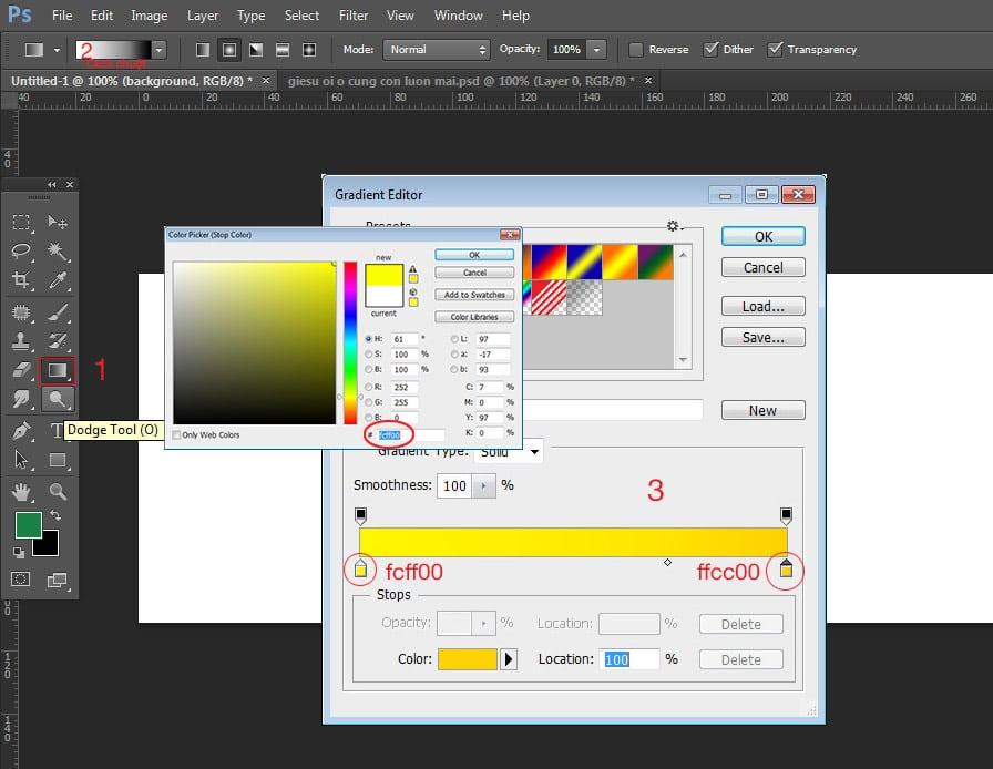 đổ màu gradient cho đối tượng