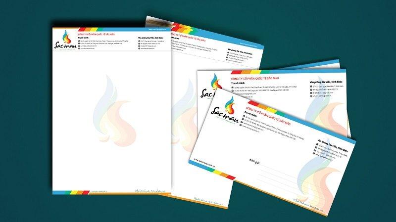 Tiêu đề thư và phong bì thư công ty cổ phần quốc tế sắc màu