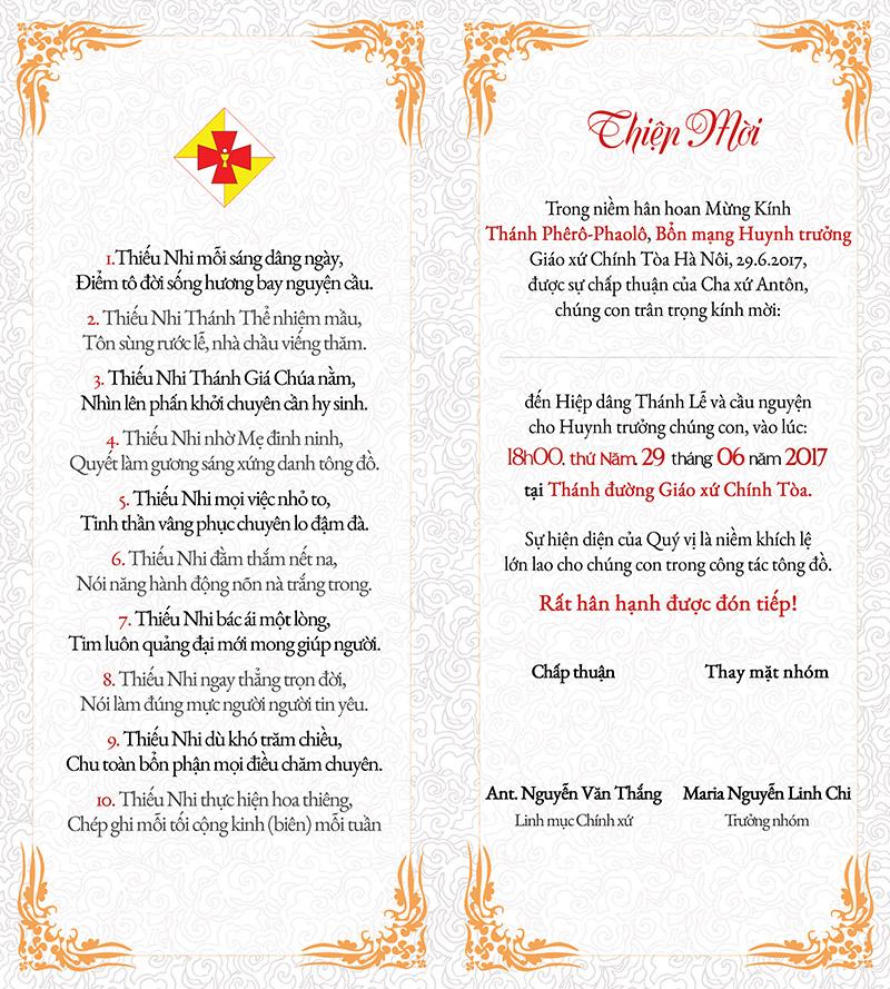Mặt trong Thiệp mời Lễ Bổn mạng Huynh trưởng TNTT
