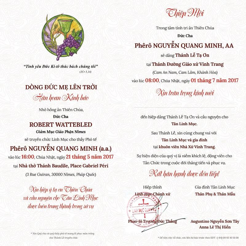 Thiệp mời Lễ Tạ Ơn tân linh mục - Quang Minh - Mặt sau
