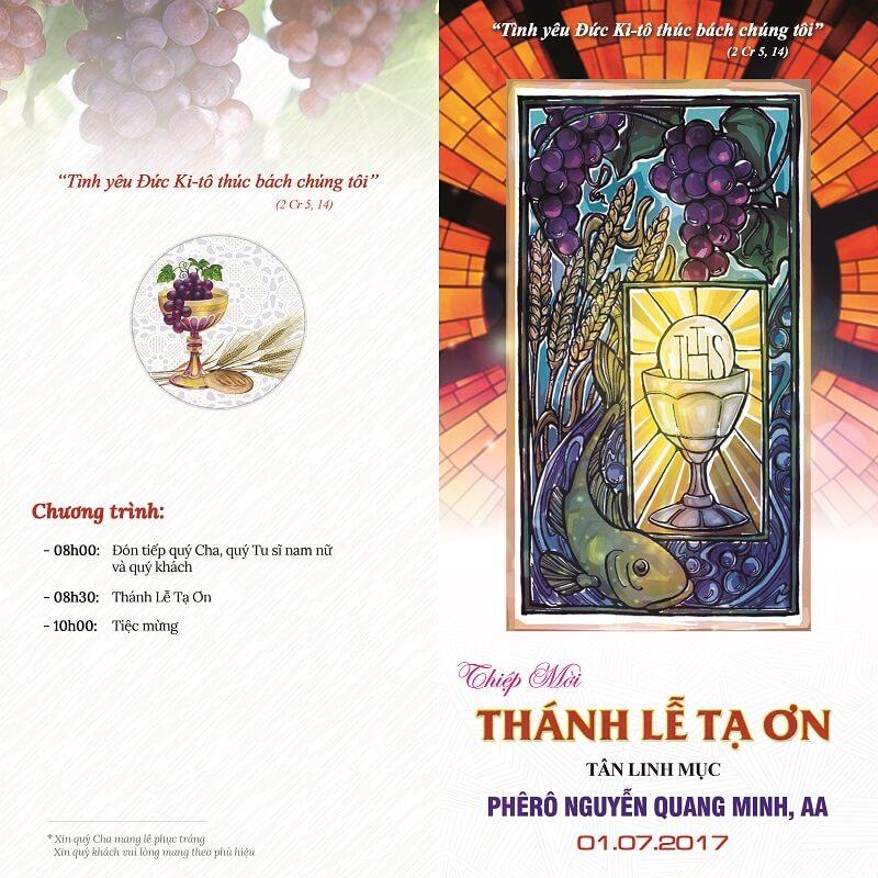 Thiệp mời tân linh mục - Quang Minh - Mặt trước