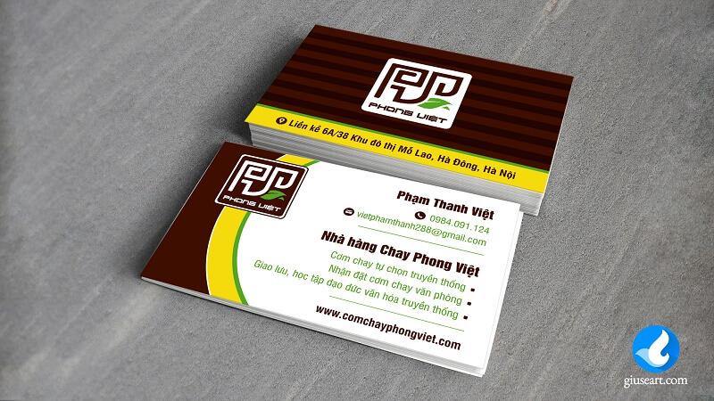 Namecard Nhà hàng Cơm chay Phong Việt 2