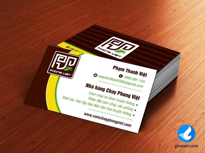 Namecard Nhà hàng Cơm chay Phong Việt 4