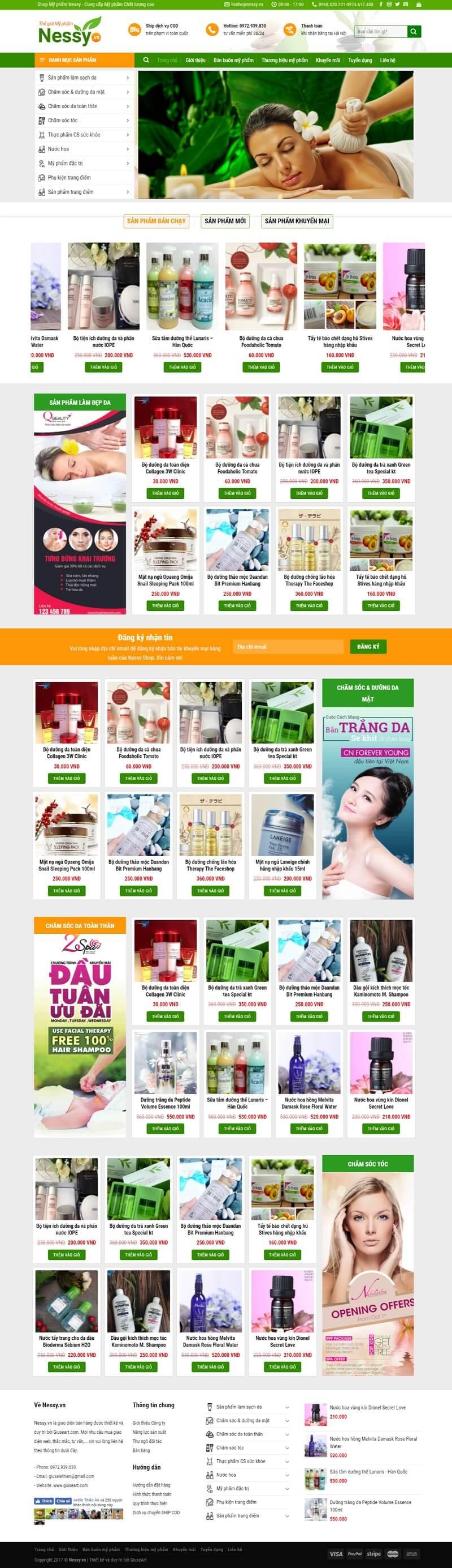 Demo website bán Mỹ phẩm của Giuseart.com – Thiết kế website chuẩn SEO, chuyên nghiệp – uy tín (1)