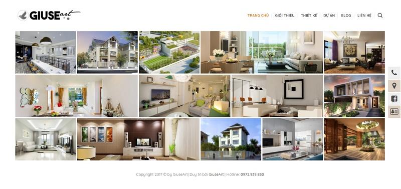 Website kiến trúc của Giuseart – Thiết kế website đẹp, chuẩn SEO uy tín