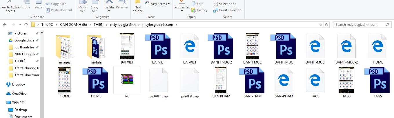 file PSD giao diện website bán hàng