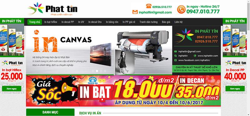 Giao diện trang chủ - website Xưởng in phun khổ lớn