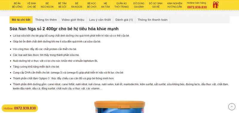 Trang chi tiết sản phẩm - Mẫu website bán hàng mẹ và bé 2