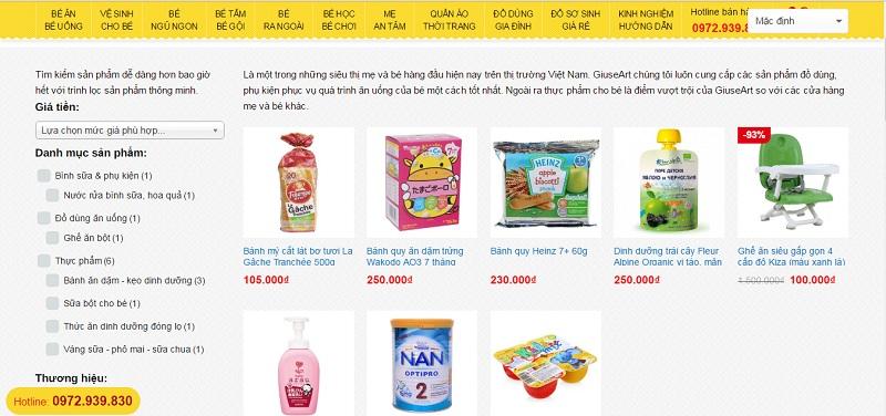 Trang danh mục - Mẫu website bán hàng mẹ và bé
