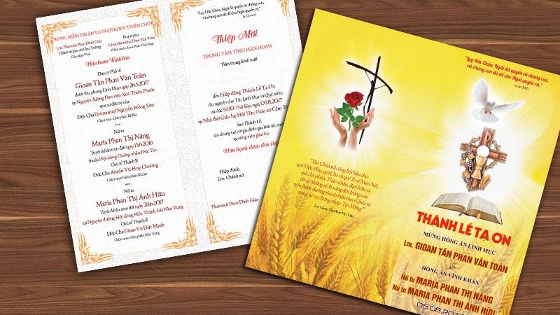 Thiệp mời Lễ tạ Ơn Tân Linh mục và Hồng ân Vĩnh Khấn