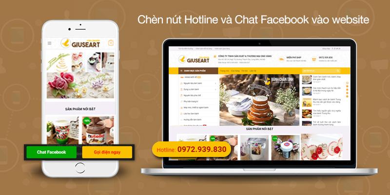 Code chèn Hotline và chat Facebook vào chân trang trên giao diện mobile cho website