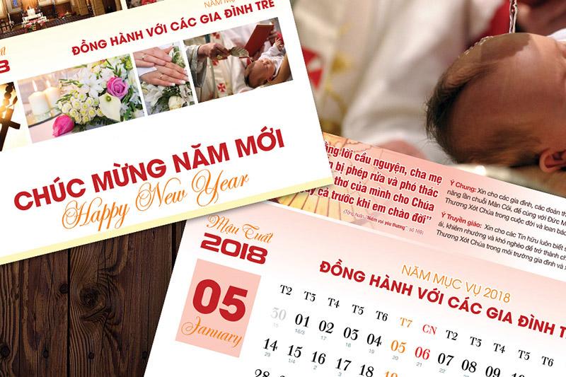 Thiết-kế-Lịch-Công-giáo-Bộ-lịch-Năm-mới-2018-Chủ đề Đồng-hành-với-các-Gia-đình-trẻ