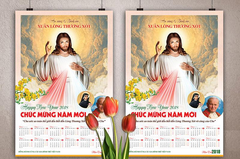 Thiết kế Lịch năm mới 2018 - Lòng thương xót Chúa 2