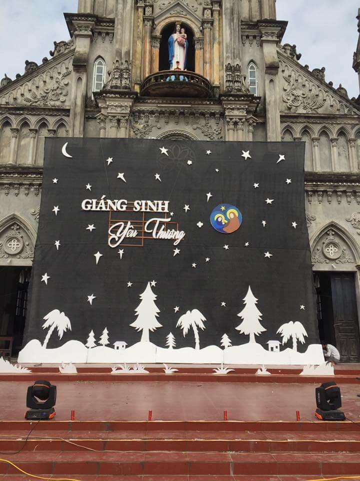 Phông sân khấu Giáng Sinh 2017 - Cắt xốp
