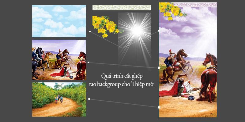Quá trình tạo background cho Thiệp mời lễ Quan Thầy