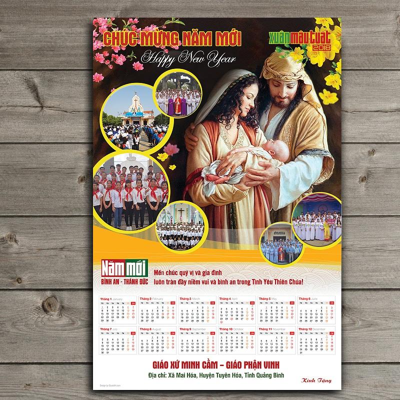 Thiết kế Lịch Công giáo treo tường - Chúc Mừng Năm Mới 12