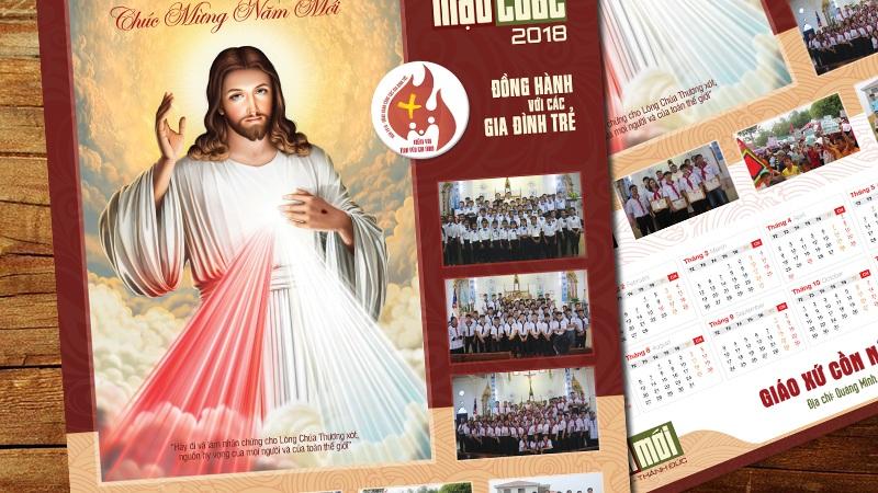 Thiết kế Lịch Công giáo treo tường - Chúc Mừng Năm Mới 2
