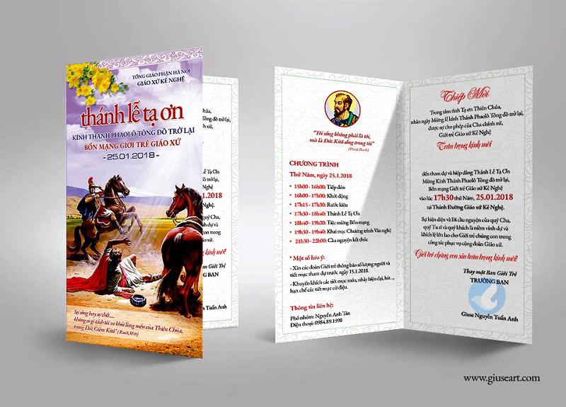 Thiệp mời Lễ Quan Thày Giới trẻ Giáo xứ Kẻ Nghệ 1