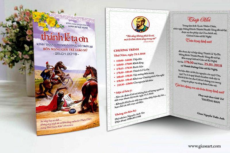 Thiệp mời Lễ Quan Thày Giới trẻ Giáo xứ Kẻ Nghệ 3
