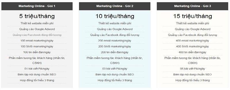 bảng giá thiết kế website, marketing