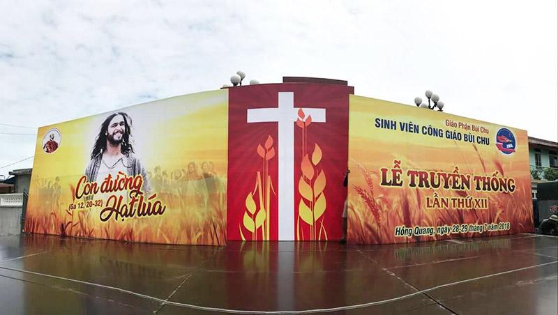 Giuseart.com - Phông sân khấu Lễ Truyền Thống SVCG Bùi Chu lần thứ XII