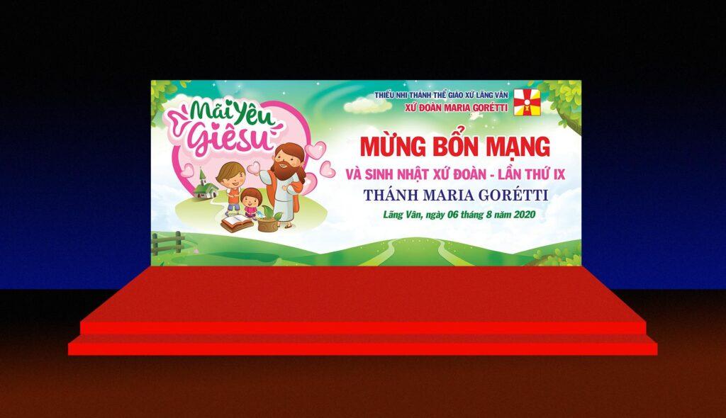 Giuseart.com - Mockup Phông sân khấu Lễ bổn mạng