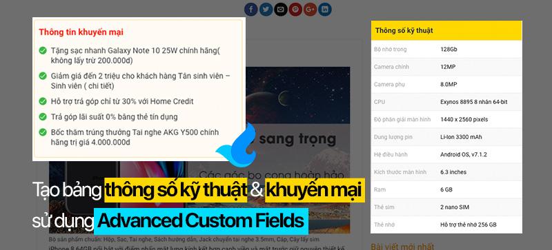 Giuseart.com - Tạo bảng thông số kỹ thuật và khuyến mại sử dụng advanced custom fileds